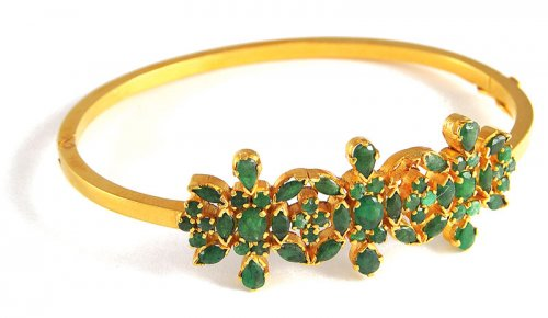 Gold Bangle With Emerald Ajba50389 22k Gold Bangles Studded With
