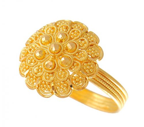 22k Gold Filigree Ring Ajri51055 22k Gold Fancy Ring