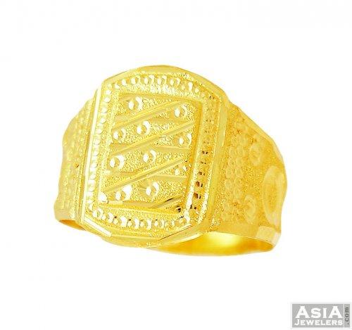 Mens Gold Ring 22k AjRi 22k gold mens ring in fancy