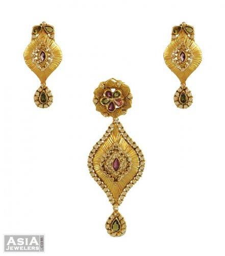 22kt gold polki pendant set ajps53933 22k gold antique pendant 22kt gold polki pendant set aloadofball Images