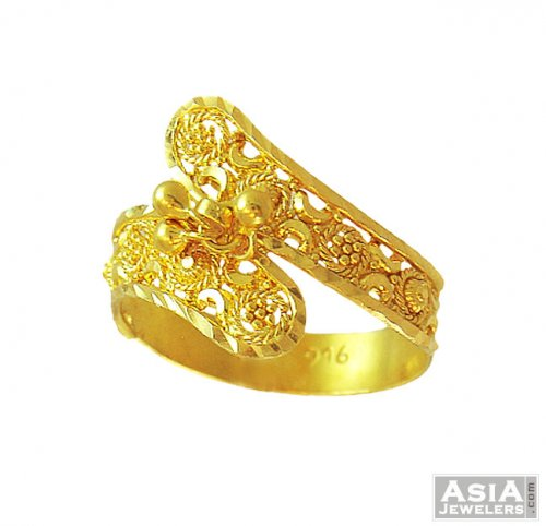 Traditional Filigree Ring 22K AjRi 22 Karat Gold Indian