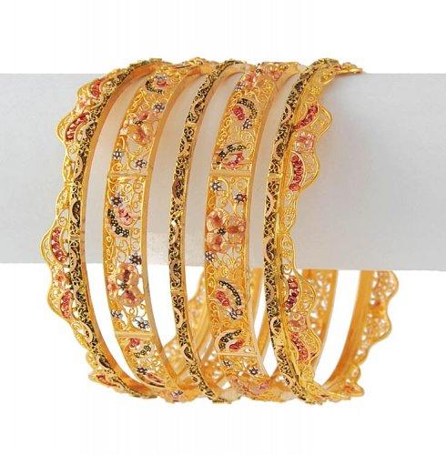 22K Bridal Bangle Set AjBa51294 22K Gold Bridal Bangle Set