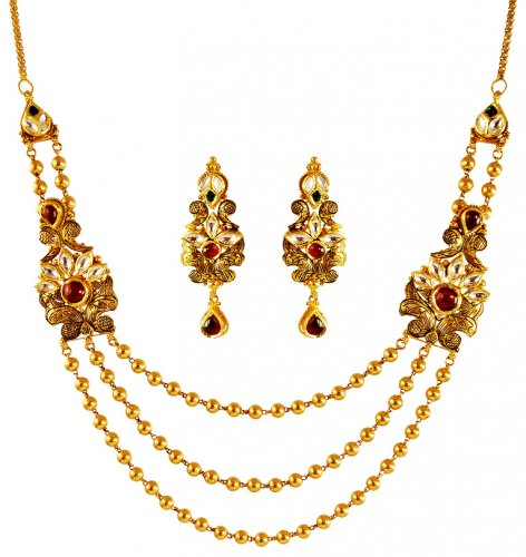 22 Karat Gold Kundan Necklace Set AjNs62813 22K Gold Layered