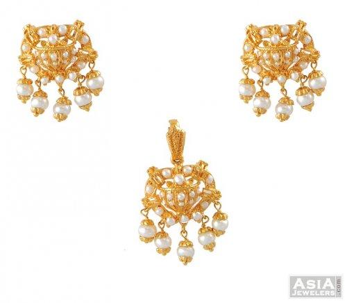 Pearl pendant set ajps52065 22k gold three pieces pendant and pearl pendant set aloadofball Images