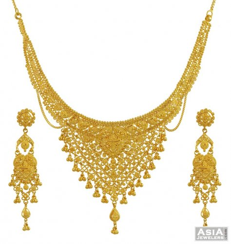 Gold Necklace And Earrings Set 22kt Indian Jewelry With: Gold Filigree Necklace Set (22Kt)