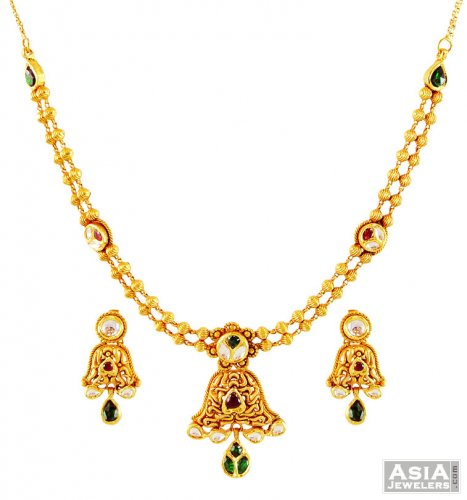 22k Light Weight Antique Set Ajns59294 22k Antique Gold Necklace And Earrings Set Designed In A Pendant Style In Center Teemed Together Wit