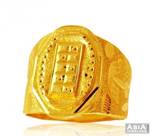 22k Gold Men Fancy Ring AjRi 22K GOld rings for men with