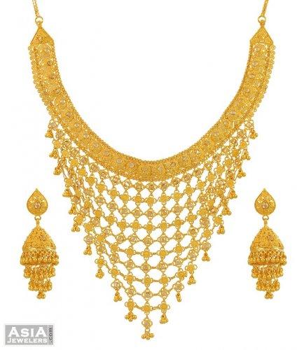 22kt Gold Filigree Necklace Set AjNs54527 22Kt Gold Filigree