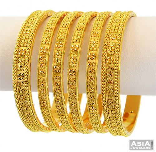 22k designer bangle set 6 pcs ajba56650 22kt yellow 89478