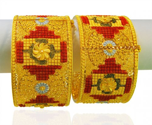 22Kt Gold three tone Kada ( 2 PCS)