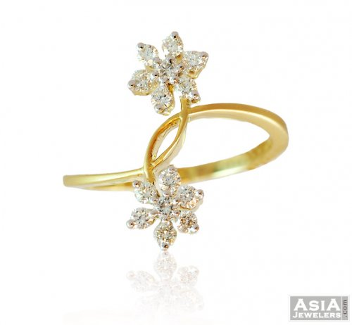 04642f090f6629 18K Gold Double Flower Ring - ajdr57970 - US$ 1,248 - 18k Yellow ...
