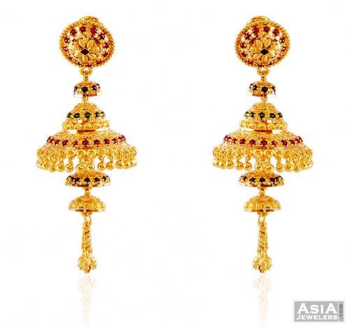 22k Meena Jhumka Earrings