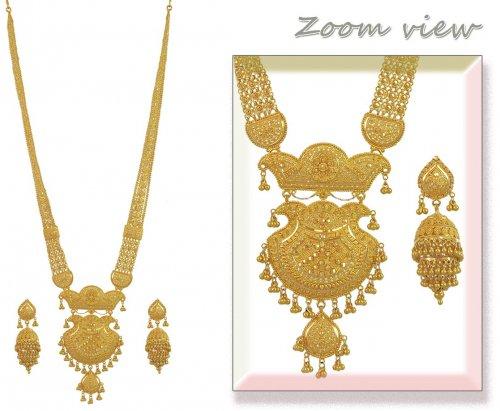 22k Indian Bridal Long Set Ajns53732 22k Gold Long Necklace