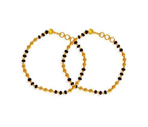 Black Beads Bracelet 22k Ajkb61151 Us 515 22k Gold