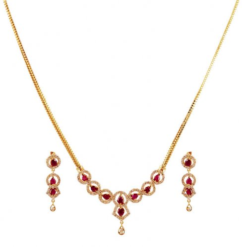 18k Small Diamond Necklace Set AjDi59407 18K small Gold Necklace