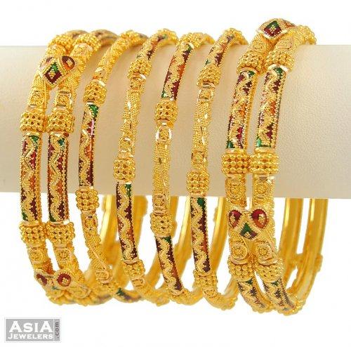 22kt Gold Bangles Set (Meenakari) - AsBa53386 - 22Kt Gold ...