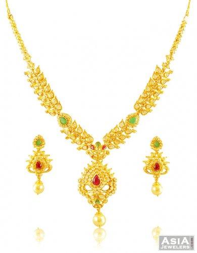 22k Designer Stone Necklace Set ajns58282 22kt Gold Designer
