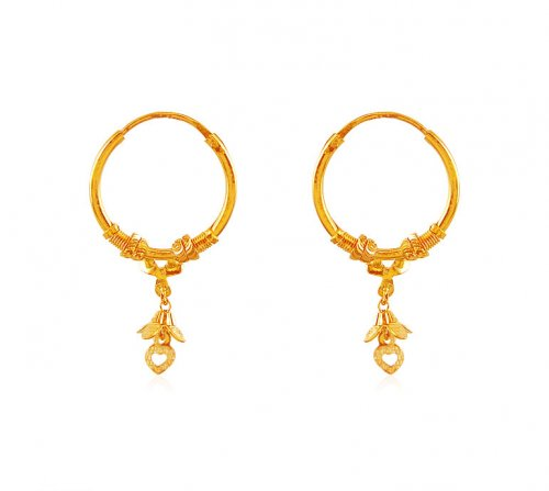 Fancy 22K Hoop Earrings AjEr 22K Gold Indian design Hoop