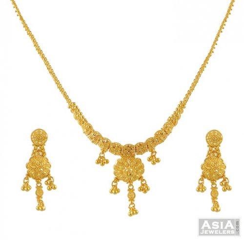 22k Gold Light Necklace Set Ajns51603 22k Gold Fancy Necklace