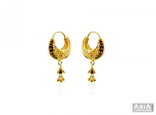 22k Fancy Basket Style Meena Hoops