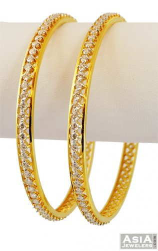 f2d85e1df7a 22k Designer CZ Bangles(2 pcs) - AjBa56409 - 22k Gold designer ...