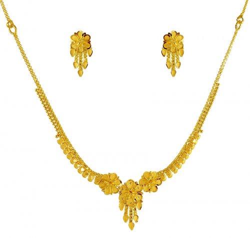 22 Karat Gold Necklace Set Ajns61725 22k Gold Light