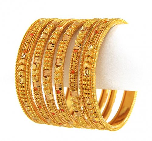 Bangles With Price: 22K Gold Bangle Set With