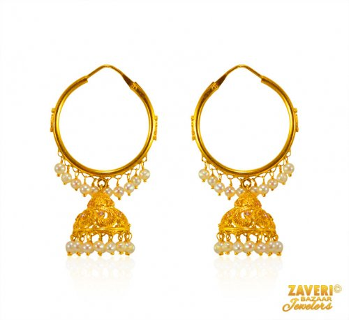 22 kt Gold Pearls Earring