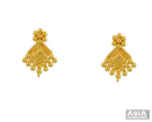 22k Gold Small Tops Ajer54758 22kt Gold Tops Earrings