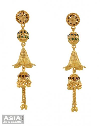 22k Meenakari Long Earrings