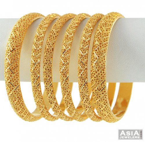 22k Gold Bangles Set Ajba52491 22k Gold Bangle Set