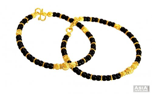 22k Kids Black Beads Baby Kadas Ajba57035 22k Gold