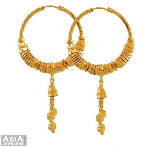 22k Gold Earrings Bali AjEr 22k yellow gold designer