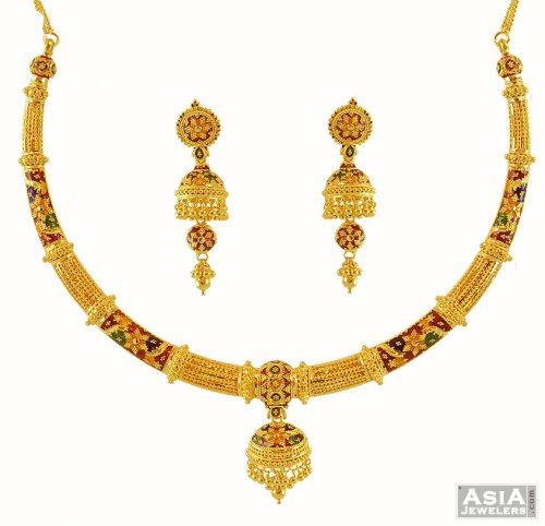 Gold Necklace And Earrings Set 22kt Indian Jewelry With: 22K Pipe Style Choker Necklace
