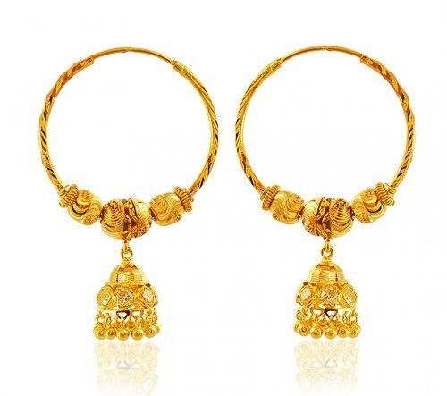 22K Yellow Gold Bali Earrings AjEr 22K gold designer