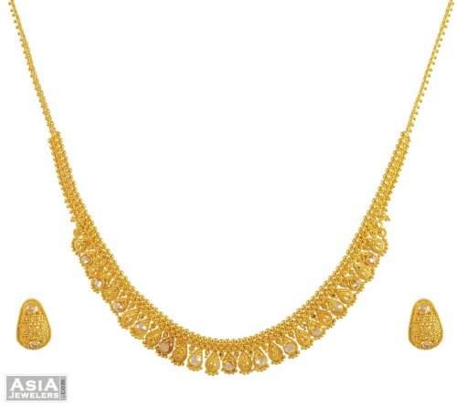 Indian Gold Set 22K AjNs54992 22K Gold Necklace and Earrings