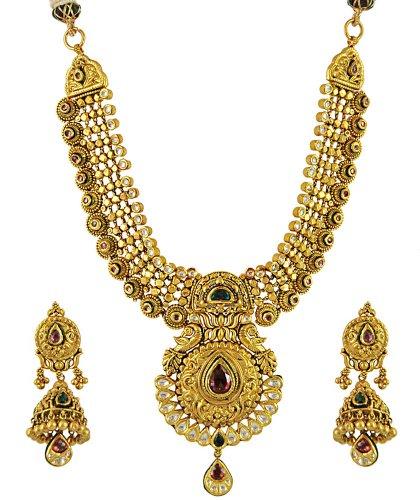 22k Traditional Kundan Necklace Set - AjNs55287 - 22k gold ... - photo #17
