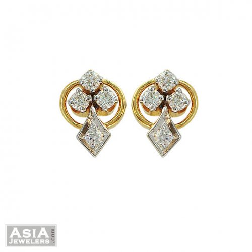 18k 2 Tone Design Diamond Earrings