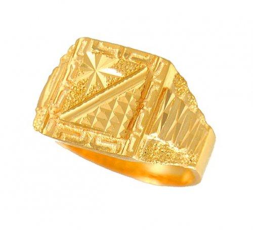 Men s Gold Ring AjRi 22K Gold Men s Ring with Frosty