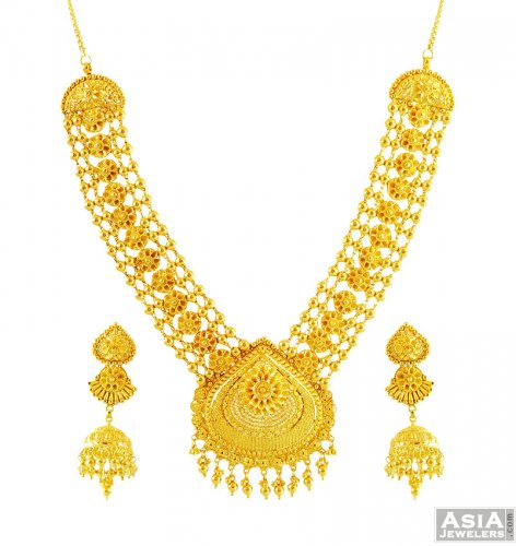 Indian Gold Necklace Set 22K ajns56129 Indian Gold classic