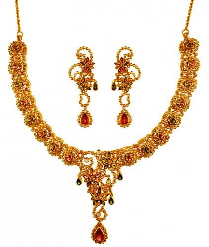 22K Gold Diamond Polki Necklace Set