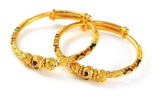22K MeenaKari Bangles AjBa50959 22k gold kids bangles pipe