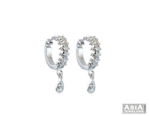 Small White Gold Hoops 18k