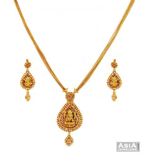 22K Temple Jewelry Necklace Set