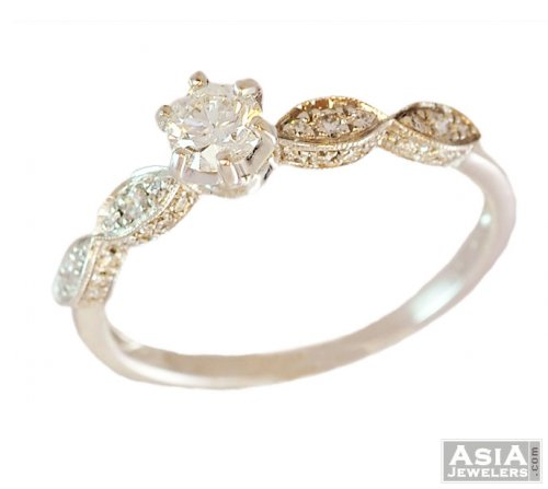 18K Solitaire Ladies Diamond Ring
