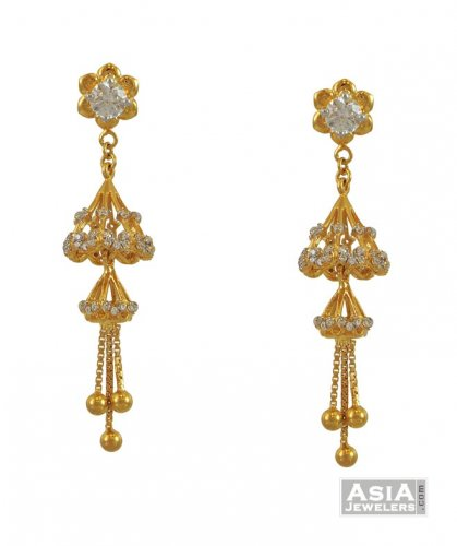 earrings designs in gold jhumka with weight layered gold