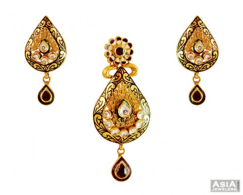 gold designer antique pendant set ajps59034 22k