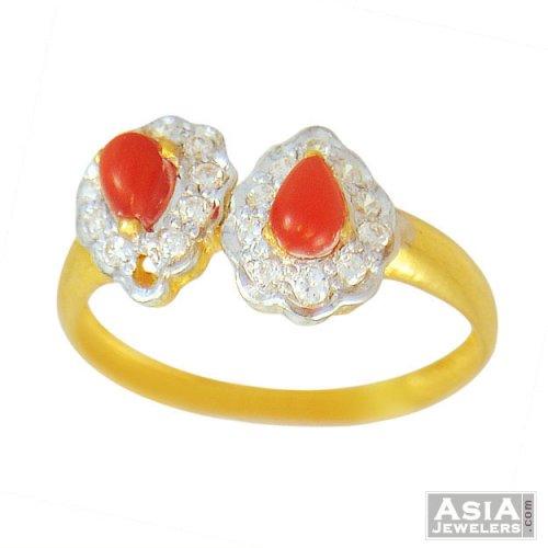 22k gold coral ring asri55491 us 248 22k gold ring