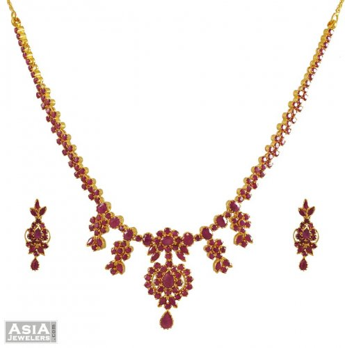 ece51fead87dd 22K Gold Ruby Necklace Set - AjNs54833 - 22k gold necklace earring ...