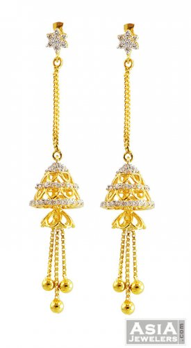 22k Fancy Long Jhumka Earrings Ajer57417 22k Gold